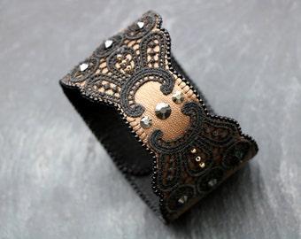 Leather bracelet women Bracelet Wristband gift|for|women gold black bracelet lace statement jewelry lace cuff women Victorian Cuff steampunk
