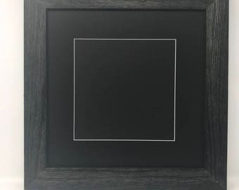 """12x12 Square 1.75"""" Rustic Black Solid Wood Picture Frame with Black Mat Cut for 8x8 Picture"""