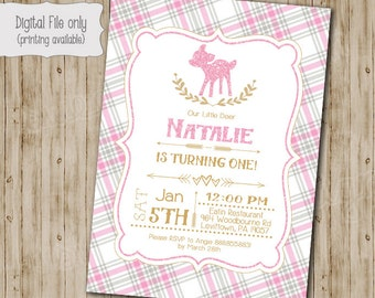 Our Little Deer Birthday Invitation, One Year, First Birthday, Baby Shower, DIY Printable, Printable, Girl, Plaid, Rustic, Gold Glittler