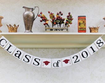 GRADUATION Party Decorations - CLASS OF 2018 Signs - Custom School Colors - Photo Booth - Graduating class