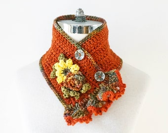 Floral Scarf, Sunflower Rose Scarf in a Orange, Yellow, Green, Sunflower & Rose accents, hand painted Merino Wool, woman's scarf