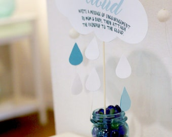 Printable wishing cloud shower activity - Showered with Love baby shower - Umbrella - Raindrops - Clouds - Baby boy - Wishes for baby game