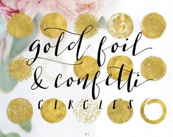 Gold Foil & Confetti Circles - Circle Brush Strokes Clipart - Gold Foil Clip Art -  by Indie Grace Design