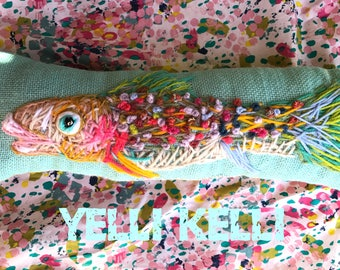 Funky Fish Freehand Embroidered Pillow Ready to Ship Yelli Kelli