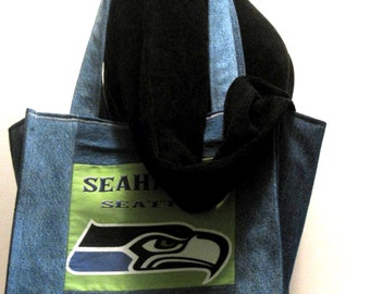 Handmade tote, denim, seahawk, 4 pockets, blue, recycled, upcycled