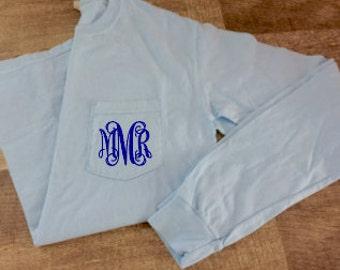 Monogrammed Comfort Colors Long Sleeve Pocket T-shirt