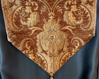 """Luxury Damask 13"""", Chenille fabric, Table Runner,3 different sizes and colors"""