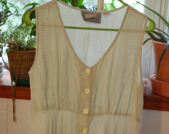 Vintage Green Gingham Mini Dress Button Down Empire Waist