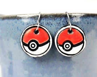 Pokéball Ceramic Earrings