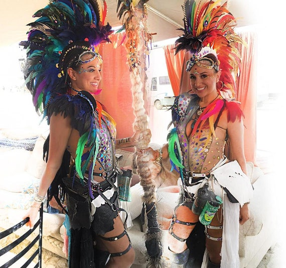 "Made to order: ""Kaikala"" - DoubleSided Feather Mohawk/ Headdress ***Glows at night**; Festivals, Cosplay, Mardi Gras,"