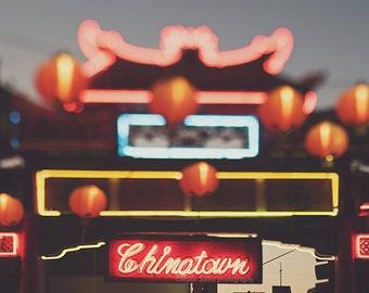 Chinatown print, Chinatown LA photo, Los Angeles photography, downtown LA art, chinese red paper lanterns, loft decor, city print, asian