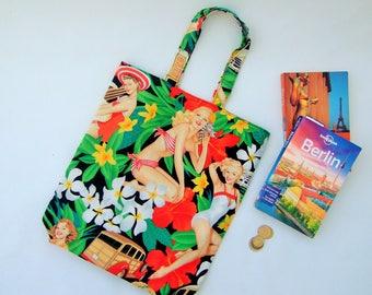 Reversible tote bag, Hawaiian fabric, pin up girl, fun tiki fabric, Alexander Henry,  hula girl, rockabilly fabric, island fabric, tiki bar