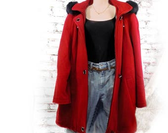 Red Wool Coat women - Red Wool Short Coat -red wool jacket  - women's wool blazer  - hooded wool coat red - Wool Winter coat  -  # C 4