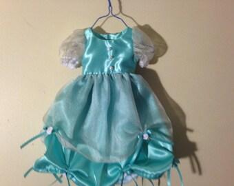 "Light Blue Rose Satin 15-18"" doll Dress"