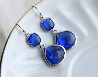 Silver Large Cobalt Blue Earrings Electric Blue Jewelry - Two Tiered Earrings Cobalt Blue Bridesmaid Jewelry Something Blue Wedding Jewelry