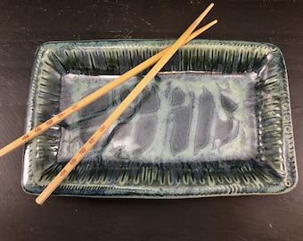Handmade Ceramic Pottery Tapas Tray / Sushi Tray / Serving Tray / Handbuilt Stoneware Serving Tray / In Stock Ready to Ship