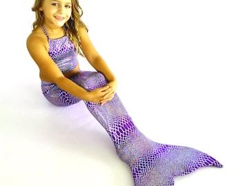 "Mermaid Tail for Swimming! W/ Monofin +Add Bikini Top! ""Purple Anaconda"""