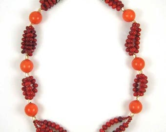 Coral and tangerine Tridacna pearl bead Necklace