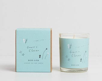 GRASS+CLOVER scented soy wax candle - glass votive + illustrated gift box, mowed grass, tomato leaf + wisteria by bon lux
