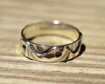 Unique Waveform Band Solid Silver Ring One of a Kind Size 9 1/4