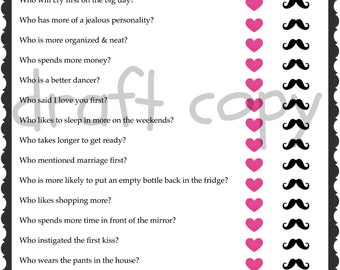 Bride & Groom Trivia | Wedding Shower Game | Bachelorette Party Game | 15 Questions | Instant Download