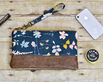Teal floral wristlet - vinyl wristlet - floral clutch - phone pouch - small purse -  teacher gift - bridesmaid gift - gift for her