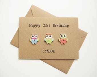16th 18th 21st 30th 40th 50th 60th 70th 80th 90th birthday card, Personalised birthday card, Owl card, Card for friend, Kraft card, cute