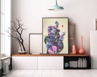 Spring Bouquet, romantic flower photograph, cottage style wall art, modern vintage decor, bedroom decor, gray blue art print, botanical art