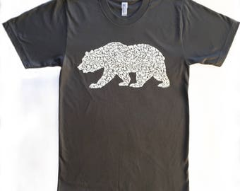 Grizzly Bear T Shirt for Men on American Apparel with Wild California Animals 100% Asphalt Grey Cotton Sizes (S M L XL XXL)