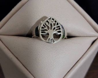 Vintage Sterling Silver Tree of Knowledge Ring Size 5 3/4