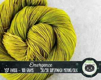 Yellow Green hand Dyed Yarn, Merino Silk Yarn, tonal Fingering Yarn, Sock Yarn, hand dyed yarn, Heirloom Luxe, brown yarn, Emergence