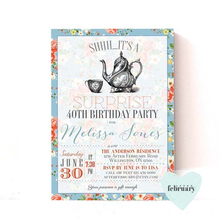 ANY AGE // Surprise Adult Birthday Tea Party Invitation