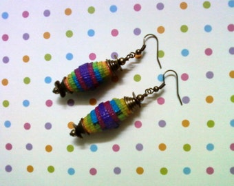 Rainbow Stripe Denim Fiber Earrings (1582)