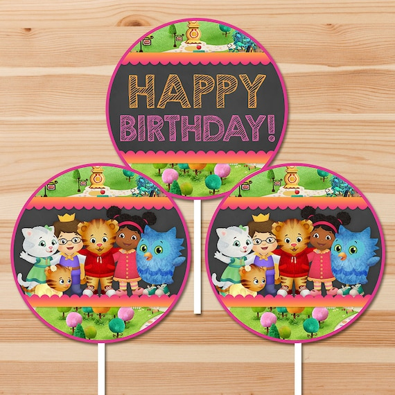 Daniel Tiger Happy Birthday Centerpiece - Chalkboard Pink - Girl Daniel Tiger Party Centerpieces - Daniel Tiger Birthday - Printable Favors