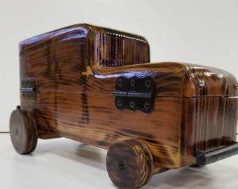 Handmade, Wood Finish, Jewelry Box, Lined, Unique, Truck, Lock, Key, Reclaimed Wood, Gift, Accessories
