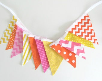 Girl's Bunting Banner, Birthday Party Decoration Fabric Flags Pink, Yellow, Orange Girl's Nursery or Baby Shower Gift