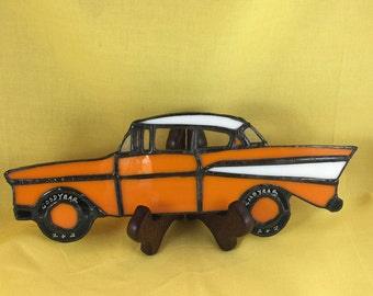 stained glass vintage car