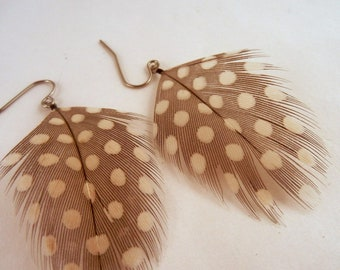 Feather Earrings Natural Guinea Fowl cruelty free