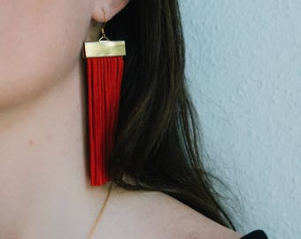 Red and Gold Rectangle Fringe Earrings -  Statement Tassel Jewelry - Gift for Her - Gifts Under 50 - Lightweight Jewelry bitte danke