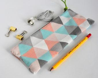 Pastel Triangle Pouch | Geometric Pouch | Triangle School Pouch | Triangle Pouch | School Case Pastel | Pastel Geometric | Triangle Cotton
