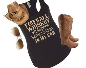 Fireball whiskey tank, country tank top, fireball whiskey, country concert tank, country shirt, country tank