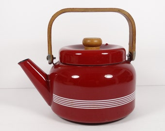 Red Enamel Tea Kettle, Vintage Enamel Red Wood Handle Striped Midcentury Tea Kettle, Kitchen Vintage Tea