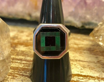 Black Onyx Malachite inlay Sterling Silver Midcentury Mexican Vintage Ring