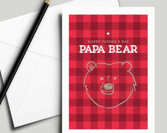 "Instant Printable Papa Bear Father's Day Card, 5"" x 7"" [Digital Download]"
