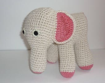 Ecru hand crocheted elephant Plushie