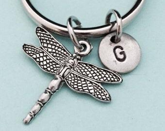 Dragonfly keychain, dragonfly charm, insect keychain, personalized keychain, initial keychain, customized keychain, monogram