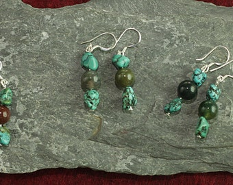 Jewelry for Bema Turquoise and Agate Stone Earrings