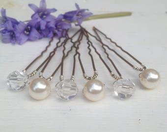 Pearl hair pins, crystal hair pins, bridal hair pins, wedding hair pins, bridesmaid pins, hairpins made with swarovski crystal beads