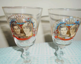 Princess Diana Royal Wedding Drinking Glasses/Goblets To Commemorate The Marriage Of Prince Charles To Lady Diana Spencer/Rare Set/W Box