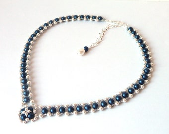 Pearl and Midnight Blue Beaded Jewelry Necklace, Bridal Jewelry Necklace, V Shaped, Wedding Jewelry, Costume Jewelry, Pearl Necklace